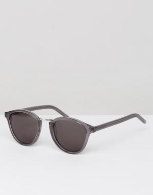 Солнцезащитные очки в круглой серой оправе Nalta Monokel Eyewear. Цвет: серый