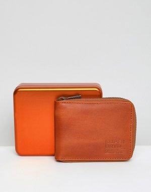 Светло-коричневый бумажник с молнией Superdry. Цвет: рыжий