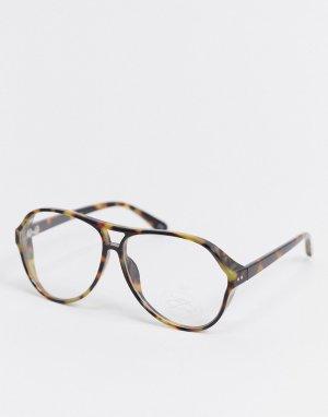 Имиджевые очки в стиле 80-х с крупной оправой «навигатор», черепаховым принтом и прозрачными линзами -Коричневый цвет ASOS DESIGN