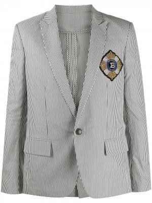 Однобортный пиджак в полоску Balmain. Цвет: белый