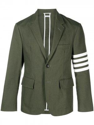 Однобортный пиджак с полосками 4-Bar Thom Browne. Цвет: зеленый