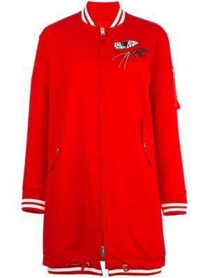 Удлиненная куртка-бомбер Ermanno Scervino. Цвет: красный