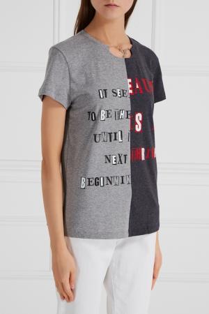 Контрастная футболка с цепочкой Valentino. Цвет: серый