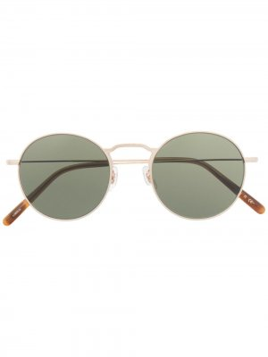 Солнцезащитные очки в круглой оправе Oliver Peoples. Цвет: золотистый