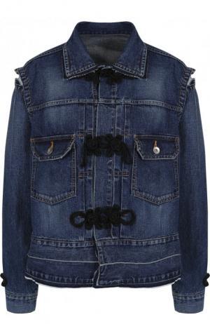 Джинсовая куртка свободного кроя с потертостями Sacai. Цвет: синий