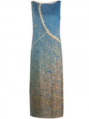 Платье-трапеция с принтом без рукавов Akris Punto. Цвет: синий