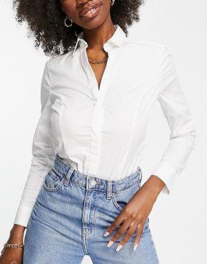 Боди белого цвета для груди большого размера с хлопковой рубашкой -Белый ASOS DESIGN