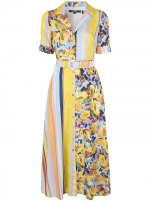 Платье-рубашка с принтом Badgley Mischka. Цвет: разноцветный