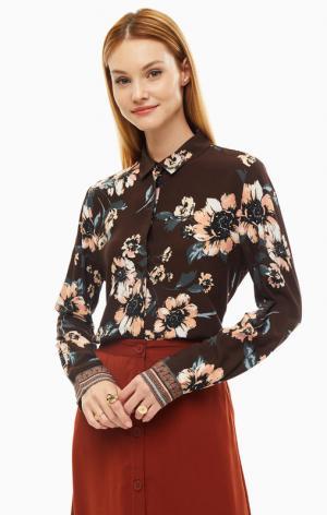 Блуза B.YOUNG. Цвет: коричневый, цветочный принт