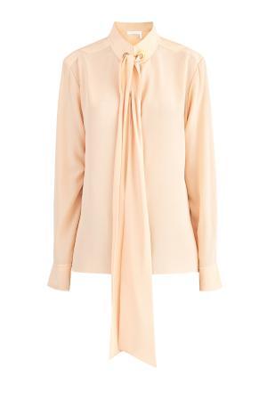 Блузка из шелка с воротом-стойкой и завязкой на широкую шелковую ленту CHLOE. Цвет: бежевый