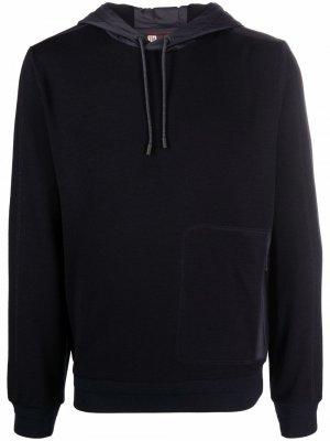 Rib-trimmed wool hoodie Z Zegna. Цвет: синий