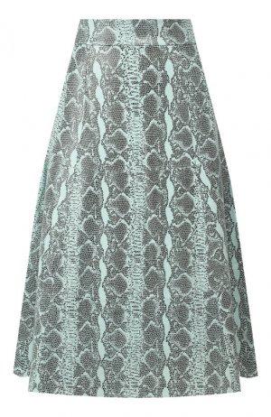 Кожаная юбка Alice + Olivia. Цвет: бирюзовый
