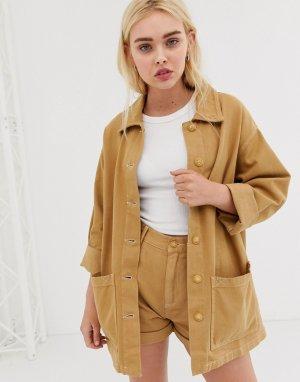 Коричневая джинсовая куртка от комплекта Pull&Bear. Цвет: коричневый