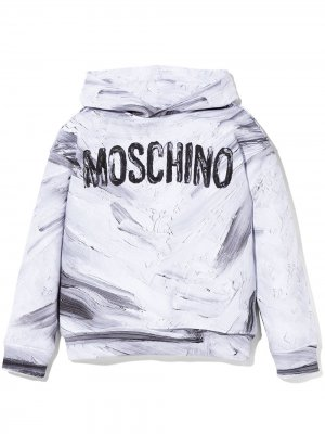 Худи с логотипом Moschino Kids. Цвет: белый
