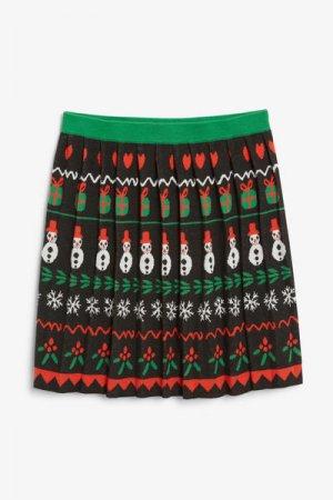 Мини-юбка с праздничным принтом Monki. Цвет: синий, зеленый, разноцветный