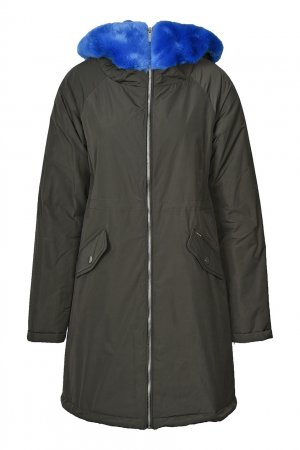Антрацитовая куртка с неоново-синей отделкой Anna Rita N. Цвет: хаки
