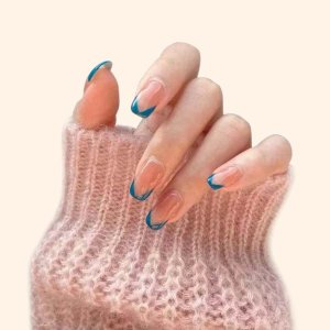 24шт Накладные ногти и 1 лист лента 1шт пилочка для ногтей SHEIN. Цвет: темно-синий