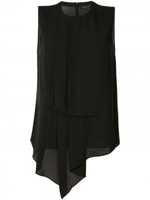 Блузка со складками и драпировкой BCBG Max Azria. Цвет: черный