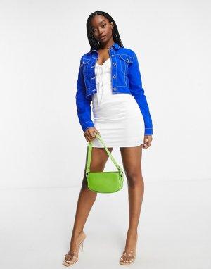 Кобальтово-синяя укороченная джинсовая куртка от комплекта -Голубой Lioness