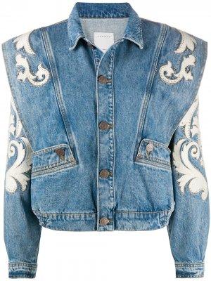 Джинсовая куртка Kevin с заклепками Sandro Paris. Цвет: синий