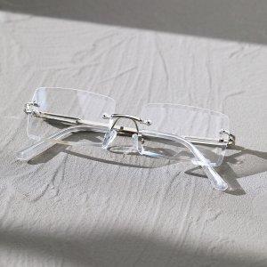 Мужские квадратные очки без оправы SHEIN. Цвет: серебряные