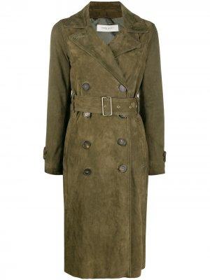 Двубортное пальто с поясом Golden Goose. Цвет: зеленый