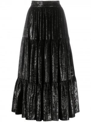 Ярусная юбка миди Gianluca Capannolo. Цвет: черный