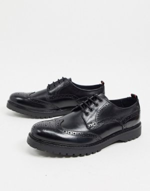 Черные кожаные броги Base london-Черный London