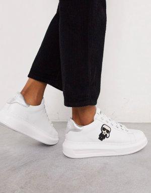 Белые кожаные кроссовки на платформе с серебристой отделкой -Белый Karl Lagerfeld