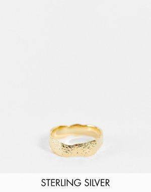 Кольцо из стерлингового серебра с эффектом расплавленного золота и позолотой 14 карат -Золотистый ASOS DESIGN