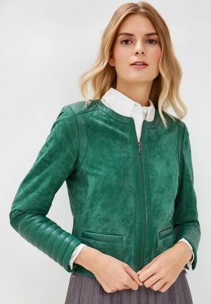 Куртка кожаная Madeleine. Цвет: зеленый