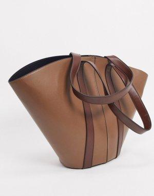 Светло-коричневая большая сумка-тоут -Светло-коричневый ASOS DESIGN