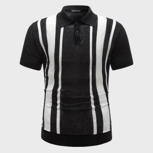 Мужской свитер с короткими рукавами в стиле колор-блок SHEIN. Цвет: черный и белый