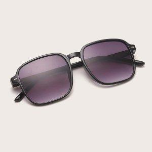 Мужские солнцезащитные очки с квадратной рамкой SHEIN. Цвет: чёрный