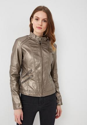Куртка кожаная B.Style BS002EWARTB8. Цвет: коричневый
