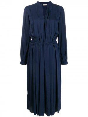 Плиссированное платье-туника Tory Burch. Цвет: синий