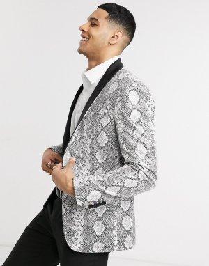 Приталенный пиджак-смокинг со змеиным принтом Avail London-Серый London