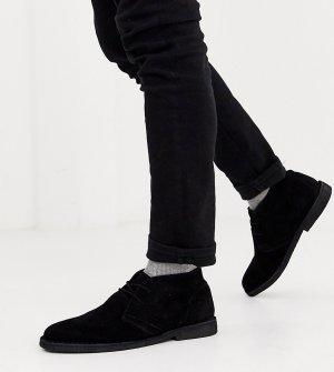 Черные замшевые ботинки чукка для широкой стопы -Черный ASOS DESIGN