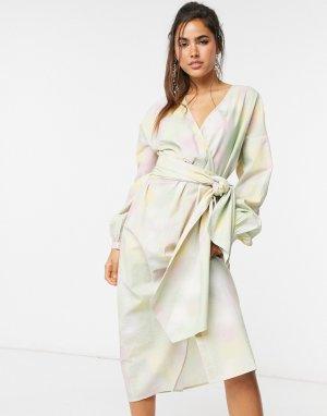 Платье макси из органического хлопка с рисунком тай-дай Nikki-Многоцветный Just Female