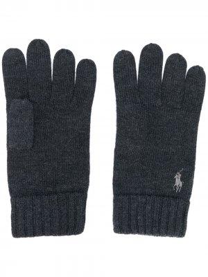 Перчатки с вышитым логотипом Polo Ralph Lauren. Цвет: серый