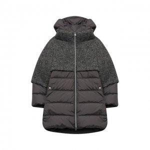 Пуховое пальто Herno. Цвет: серый