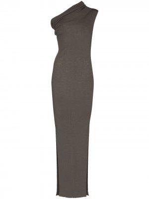 Платье на одно плечо с драпировкой Rick Owens. Цвет: нейтральные цвета