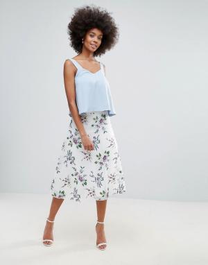 Сетчатая юбка-трапеция с цветочной вышивкой Darling. Цвет: кремовый