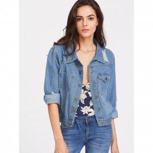 Синяя рваная джинсовая куртка SHEIN. Цвет: синий