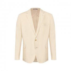 Пиджак из шелка и льна Ralph Lauren. Цвет: бежевый