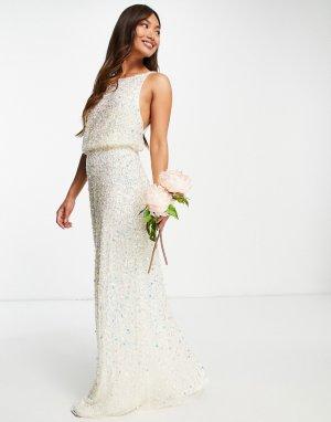 Свадебное платье макси с глубоким вырезом на спине и сплошной отделкой пайетками цвета экрю Bridal-Белый Maya
