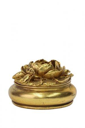 Шкатулка Цветок 14x14x9 см ГЛАСАР. Цвет: золотой