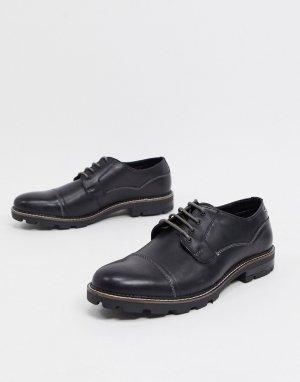 Черные кожаные ботинки на шнуровке с рифленой подошвой -Черный Ben Sherman