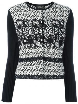 Твидовый пиджак с ребристыми рукавами Giambattista Valli. Цвет: черный