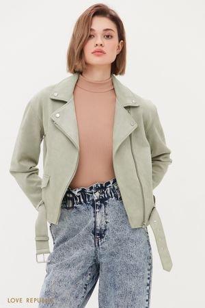 Куртка-косуха из искусственной замши цвета хаки LOVE REPUBLIC